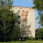 Khotkovo street art. Misha The Bear, the 1980 Olympics mascot